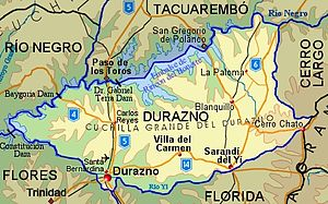 Durazno Department - Topographic map of Durazno Department showing main populated places and roads