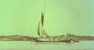 Durham boat - This image is a contemporary watercolor, possibly by Henry Byam Martin c. 1832, of a Durham boat under sail on the St. Lawrence River.