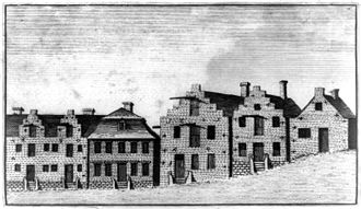 This 1789 etching shows the Dutch influence on the architecture of early Albany. Dutch Rowhouses Albany 1789.jpg