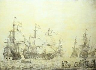 Dutch ships coming to anchor near the shore