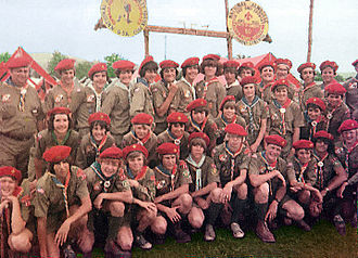 Scout troop - A Boy Scouts of America troop at a national Scout jamboree in 1977.