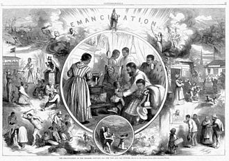 Origins of the blues - Emancipation from Freedmen's viewpoint; illustration from Harper's Weekly 1865