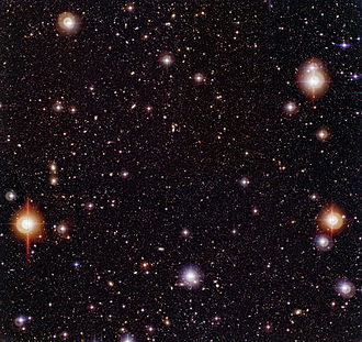 Chandra Deep Field South - Three-colour composite image of the Chandra Deep Field South (CDF-S), obtained with the Wide Field Imager on the 2.2-m MPG/ESO telescope at the ESO La Silla Observatory (Chile).