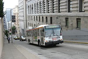 Trolleybuses in San Francisco - ETI 14TrSF trolley bus,  Sacramento & Powell Streets,  a 17% grade