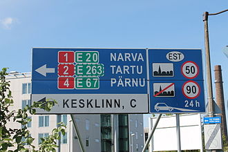 European route E67 - At the Northern beginning at the port of Tallinn.