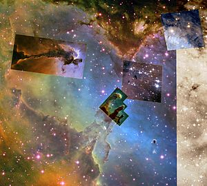 Overview of some famous sights in the Eagle Nebula
