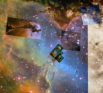 Pillars of Creation - The Pillars of Creation within the Eagle Nebula (center of photo, overlaid with the original HST image)