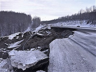 2018 Anchorage earthquake - Damage to the Glenn Highway