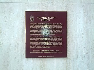 Timothy Eaton - Plaque about Eaton in Toronto