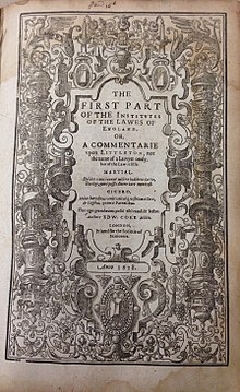Edward Coke, The First Part of the Institvtes of the Lawes of England (1st ed, 1628, title page) - 20131124.jpg