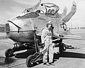 Edwin Foresman Schoch with the XF-85 Goblin at Edwards AFB.jpg