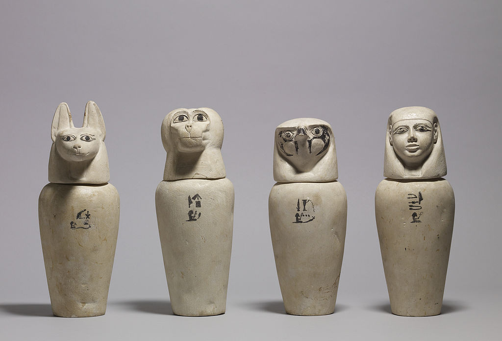 Egyptian - A Complete Set of Canopic Jars - Walters 41171, 41172, 41173, 41174 - Group
