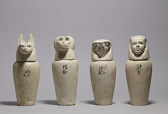 Canopic jar - Image: Egyptian A Complete Set of Canopic Jars Walters 41171, 41172, 41173, 41174 Group