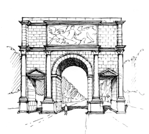 Mainz-Kastel - Reconstruction of the Roman triumphal arch whose foundations were found in Mainz-Kastel.  It was built between 18 and 43 A.D.