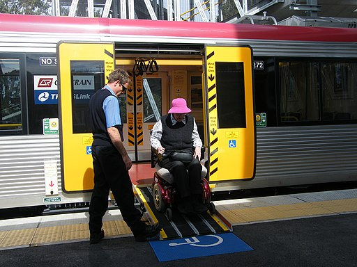 Electric wheelchair alighting Queensland Rail SMU260 Platform 3 Sunnybank Railway Station DSCF7824