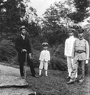 Hirohito - Emperor Taishō's four sons in 1921: Hirohito, Takahito, Nobuhito and Yasuhito