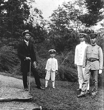 Emperor Taisho's four sons in 1921: Hirohito, Takahito, Nobuhito and Yasuhito Emperor Taisho's sons 1921.jpg