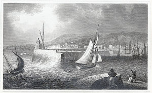 Swansea docks - Entrance to Swansea harbour, Glamorganshire, 1830