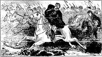 Battle of Avay - General Osório, although wounded in the left lower jaw by a rifle bullet, continues to fight.