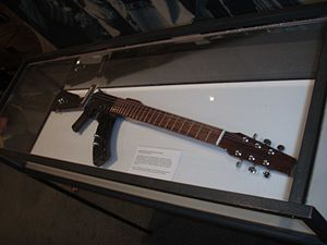 Escopetarra (Gun-guitar) on display at the Uni...