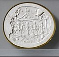 Età imperiale, gemma con anguipede alectriocefalo con tre cavalieri danubiani e anguipede alectriocefalo, II-IV secolo ca., in diaspro 02 impressione.jpg