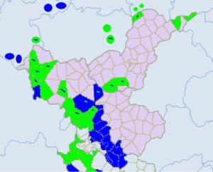Bijie - Ethnic townships in Bijie. Light green -Yi. Blue - miao. Dark green- Bouyei