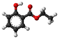 Ball-and-stick model of the ethyl salicylate molecule