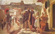 Peinture représentant un jeune homme en toge offrant un objet à deux hommes avec un armurier au travail derrière. On voit en arrière plan la représentation d'une cité antique avec des fortifications.