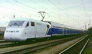 SNCF TGV Duplex - The Eurotrain demonstration train at Munich-Laim on 4 April 1998