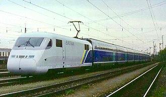 SNCF TGV Duplex - The Eurotrain demonstration train at Munich-Laim on 4 April 1998