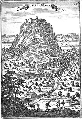 Castle of Evoramonte - An engraving from 1684, depicting the walled town of Evoramonte, with the tower in the centre