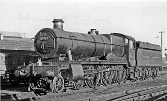 GWR 4900 Class - 5976 Ashwicke Hall at Exeter St David's MPD in 1953.
