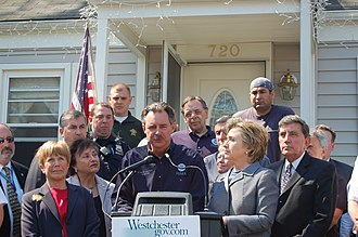Nita Lowey - Congresswoman Lowey, with Federal Emergency Management Agency Director David Paulison and Senator Hillary Clinton, during 2007 floods in New York.