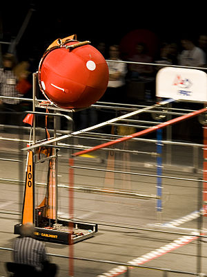 A robot participates in the 2008 FIRST Robotic...