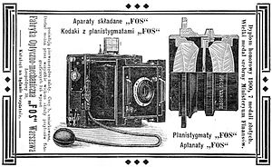 Congress Poland - An advertisement of cameras made by a Polish company FOS (1905). Cameras, objectives and stereoscopes were exclusively made in Congress Poland.