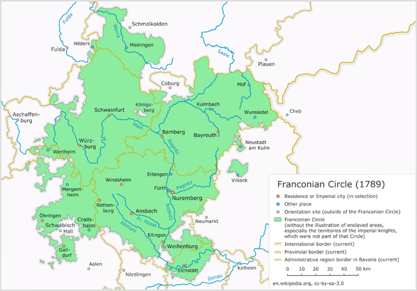 The Franconian Circle as at 1789, before the French Revolutionary Wars and the dissolution of the Holy Roman Empire. FRK 1789 en.png