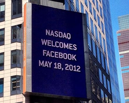 Billboard on the Thomson Reuters building welcomes Facebook to NASDAQ, 2012 Facebook on Nasdaq.jpeg