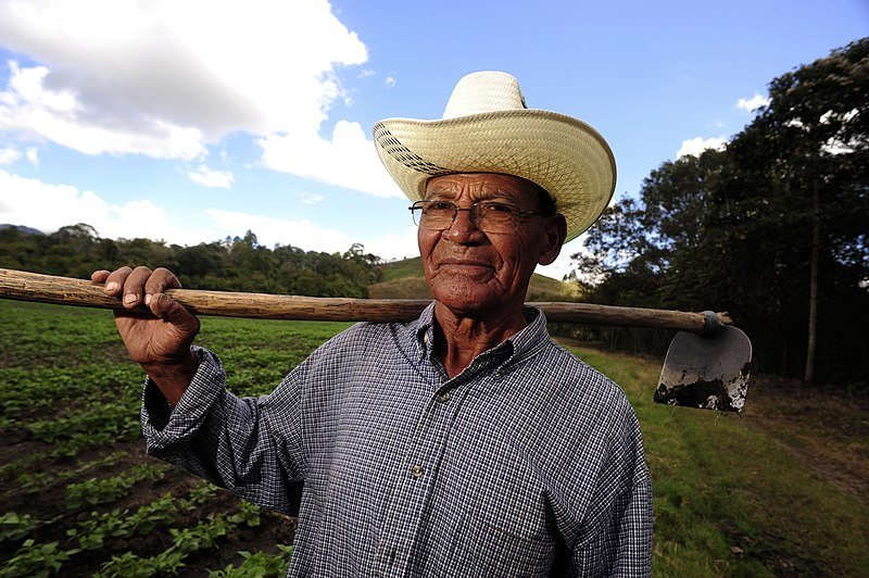 A farmer who is hosting a pilot project to use stored rainwater for irrigation of food crops during Nicaragua's intense dry season. 18 February 2011