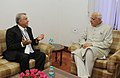 Farooq Abdullah with the Minister of Industry and Energy, Azerbaijan, Mr. Natig Aliyev, at the bilateral meeting, on the sidelines of International Seminar on Energy Access, in New Delhi on October 09, 2012.jpg