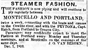 Columbia (sidewheeler 1850) - By December 1853, Fashion was running with Columbia 's engines, as this advertisement shows.