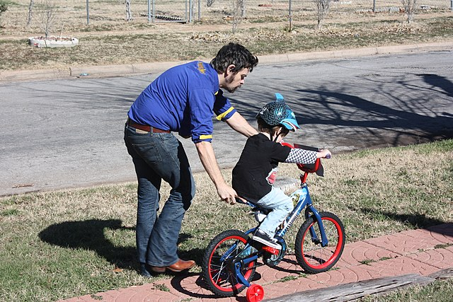 Father and son learning to ride a bike, Author dadblunders, Source flickr (CC Attribution 2.0 Generic)