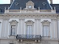 Festetics Palace main building, north wing, balcony and clock, Keszthely, 2016 Hungary.jpg