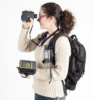 Forest inventory - Example of hardware equipment for forest inventories: GPS and laser rangefinder for mapping connected to a field rugged computer.