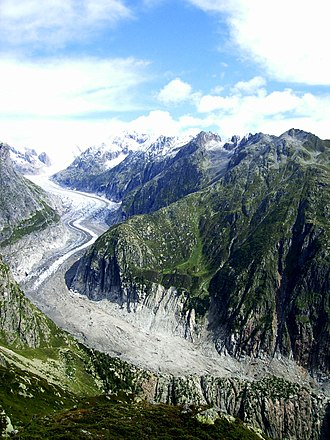 Fiescher Glacier - The lower end of the glacier
