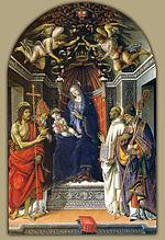 Filippino lippi, madonna col bambino e i santi g.battista, vittore, bernardo e zanobi (1485) uffizi.jpg