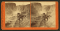 First construction train passing the palisades, Ten Mile Cañon, by Watkins, Carleton E., 1829-1916.png