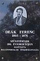 Fischl-ház, Deák Ferenc emléktábla, 2018 Balatonboglár.jpg
