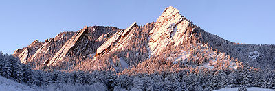 Boulder's iconic rock formations, the Flatirons.