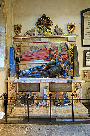 Thomas Fleming (judge) - Fleming's tomb, which is shared with his wife; the surviving children are represented by the praying statuettes