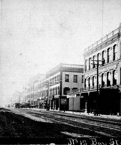 The Florida Times-Union (far right) in the 1880s.